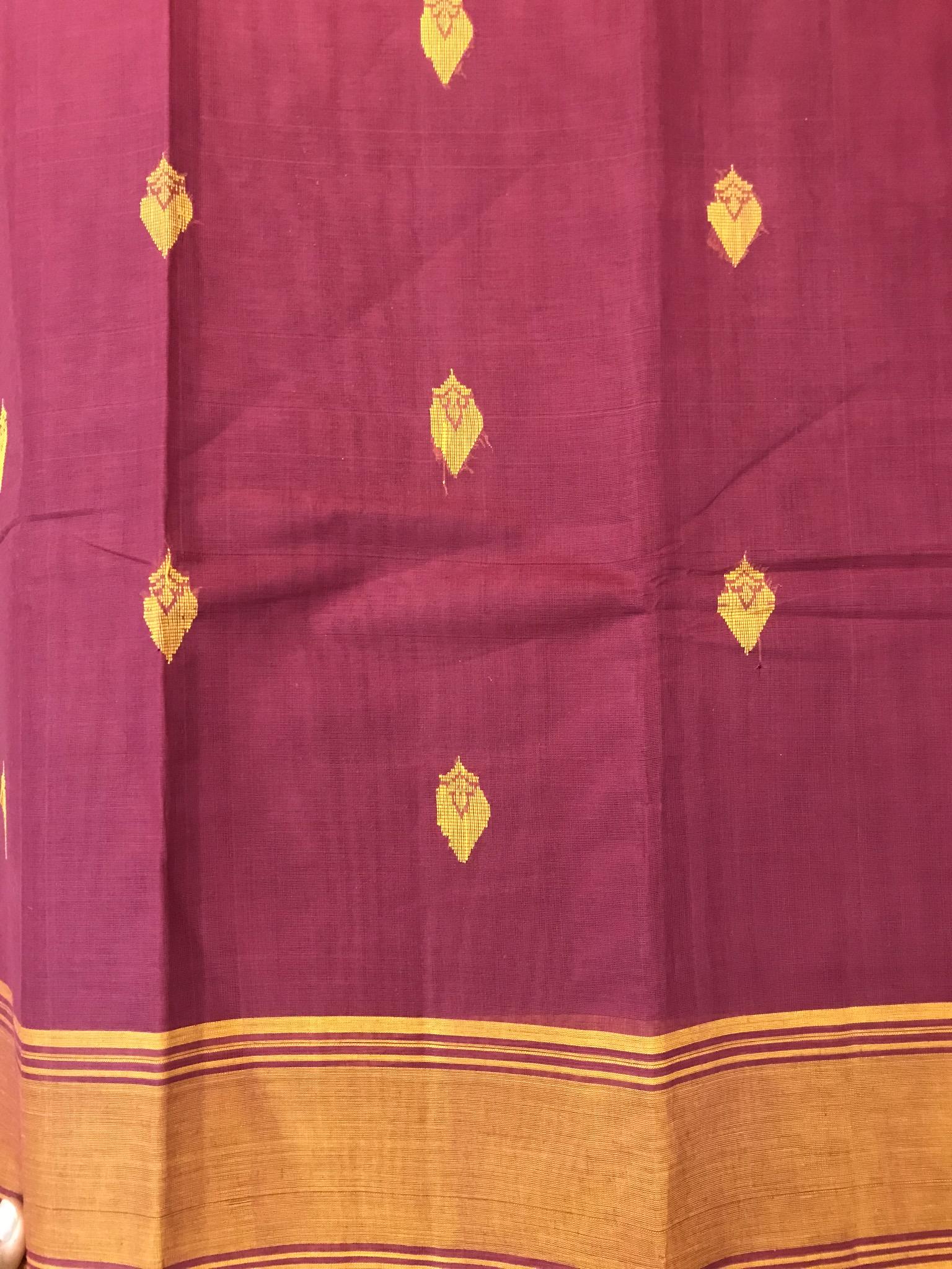 Maroon and Mustard Kanchi cotton Saree (INDI-1017)