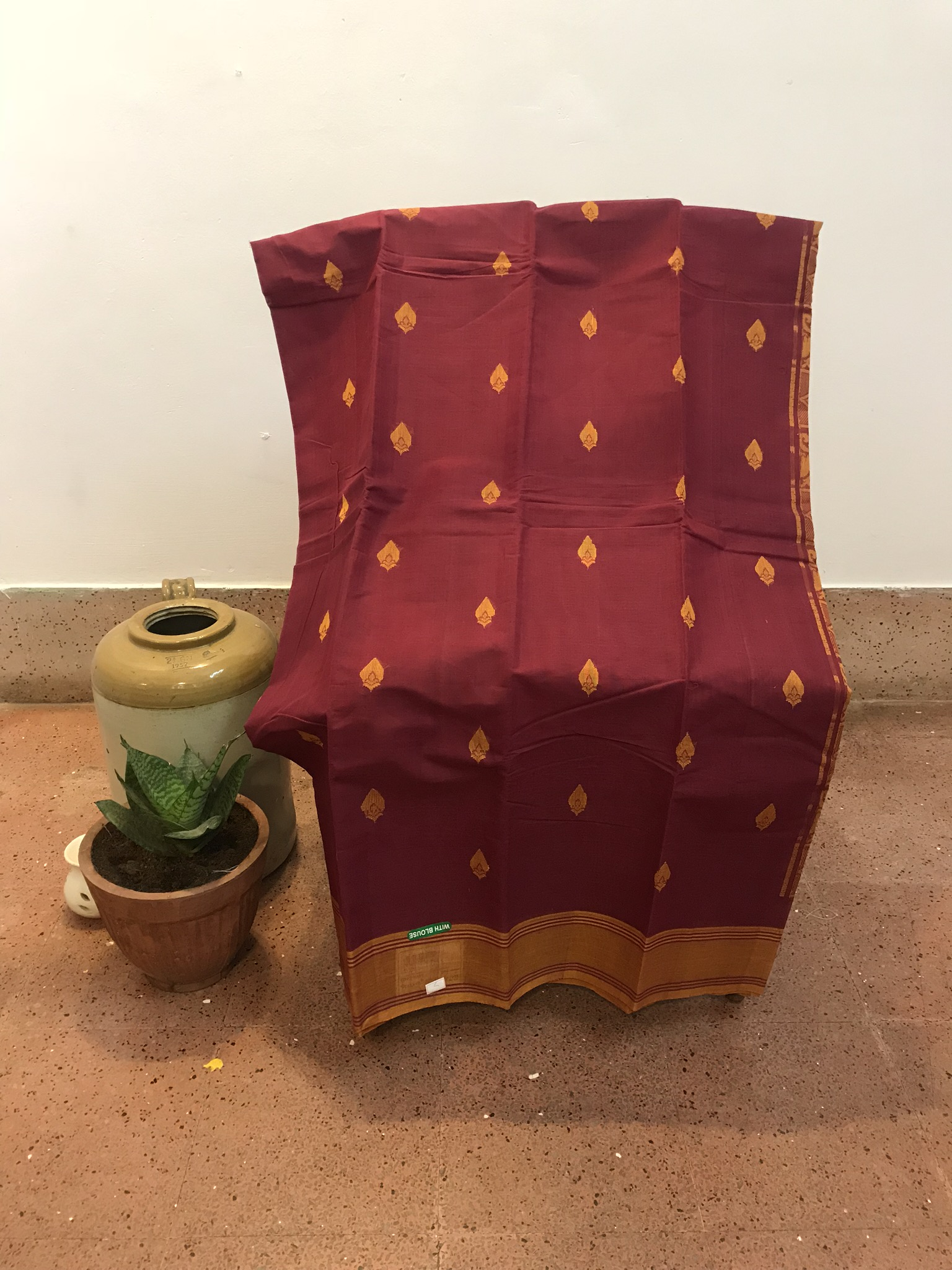 Maroon and Mustard Kanchi cotton Saree