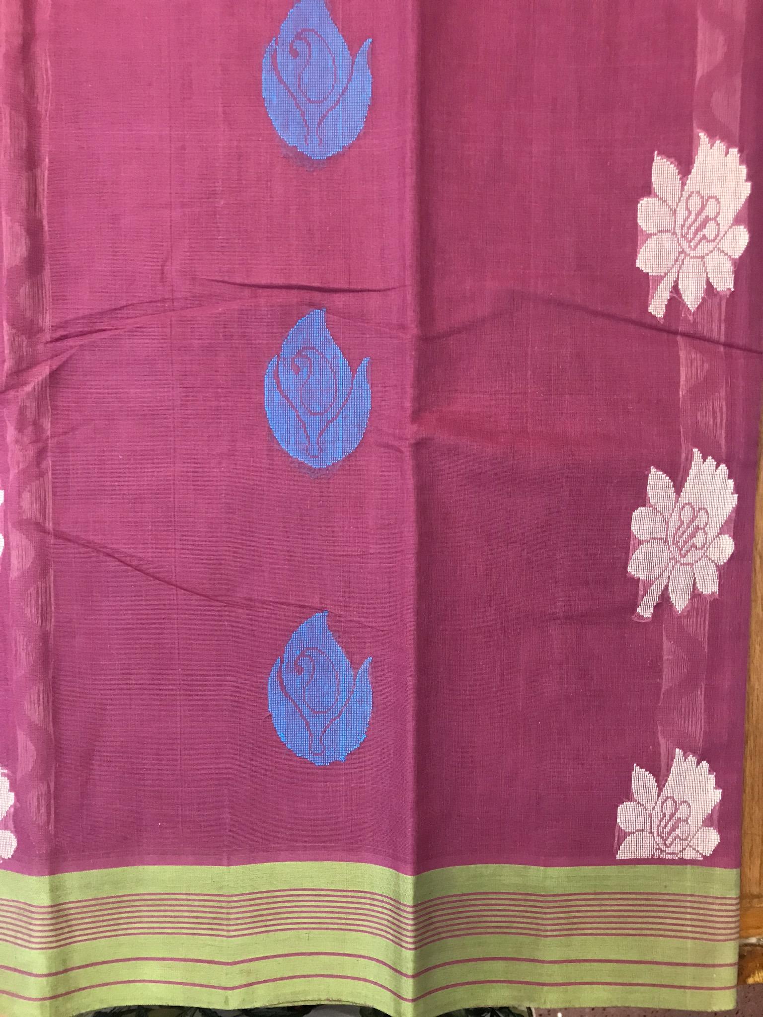 Maroon and Green Kanchi Cotton Saree (INDI-1018)