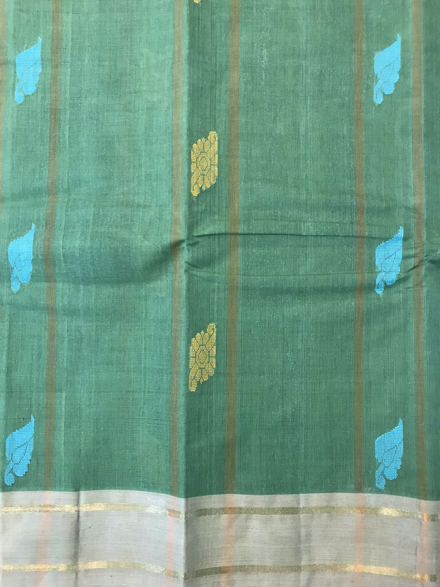 Leaf Green Kanchi Cotton Saree