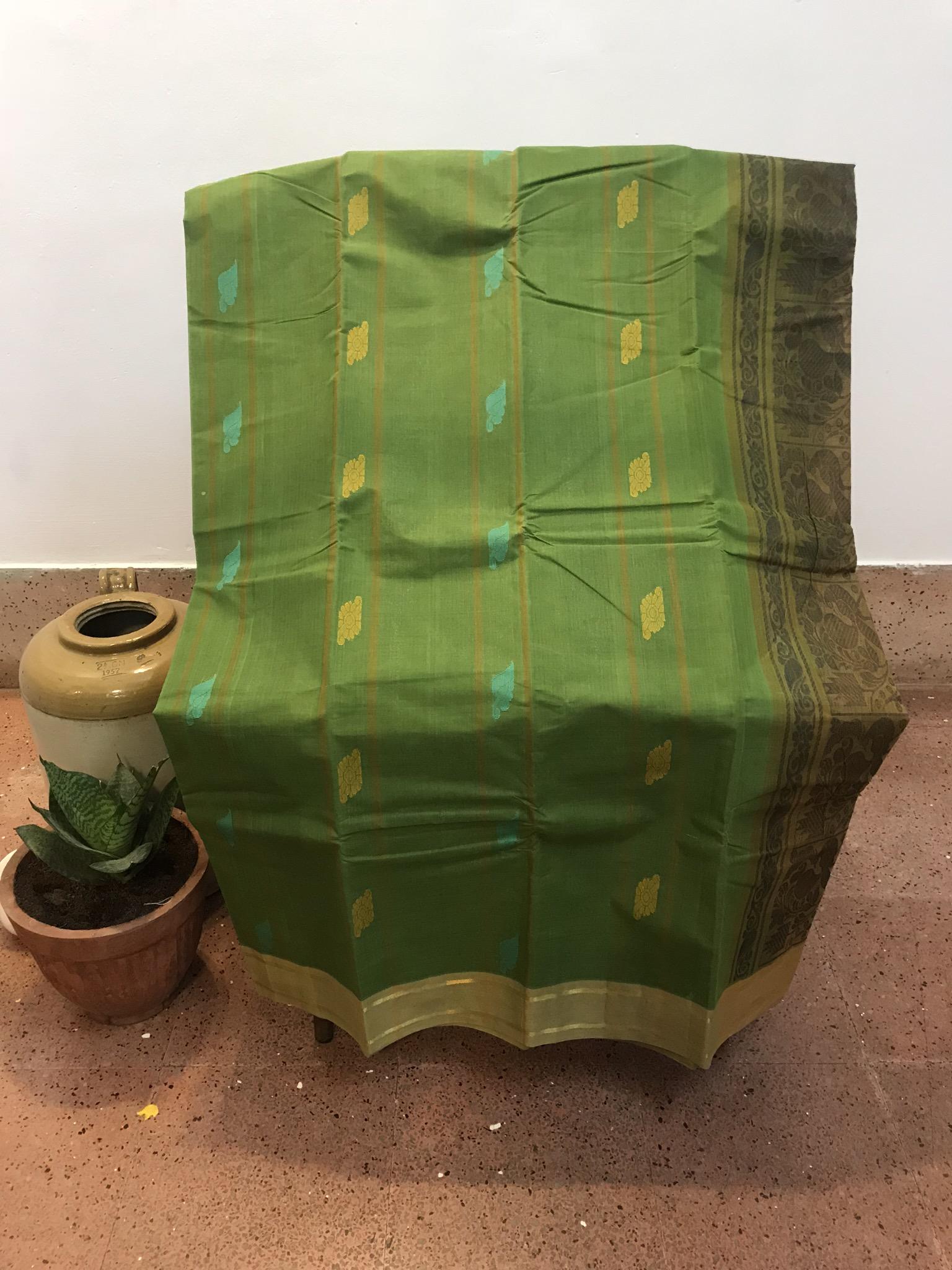 Leaf Green Kanchi Cotton Saree (INDI-1019)