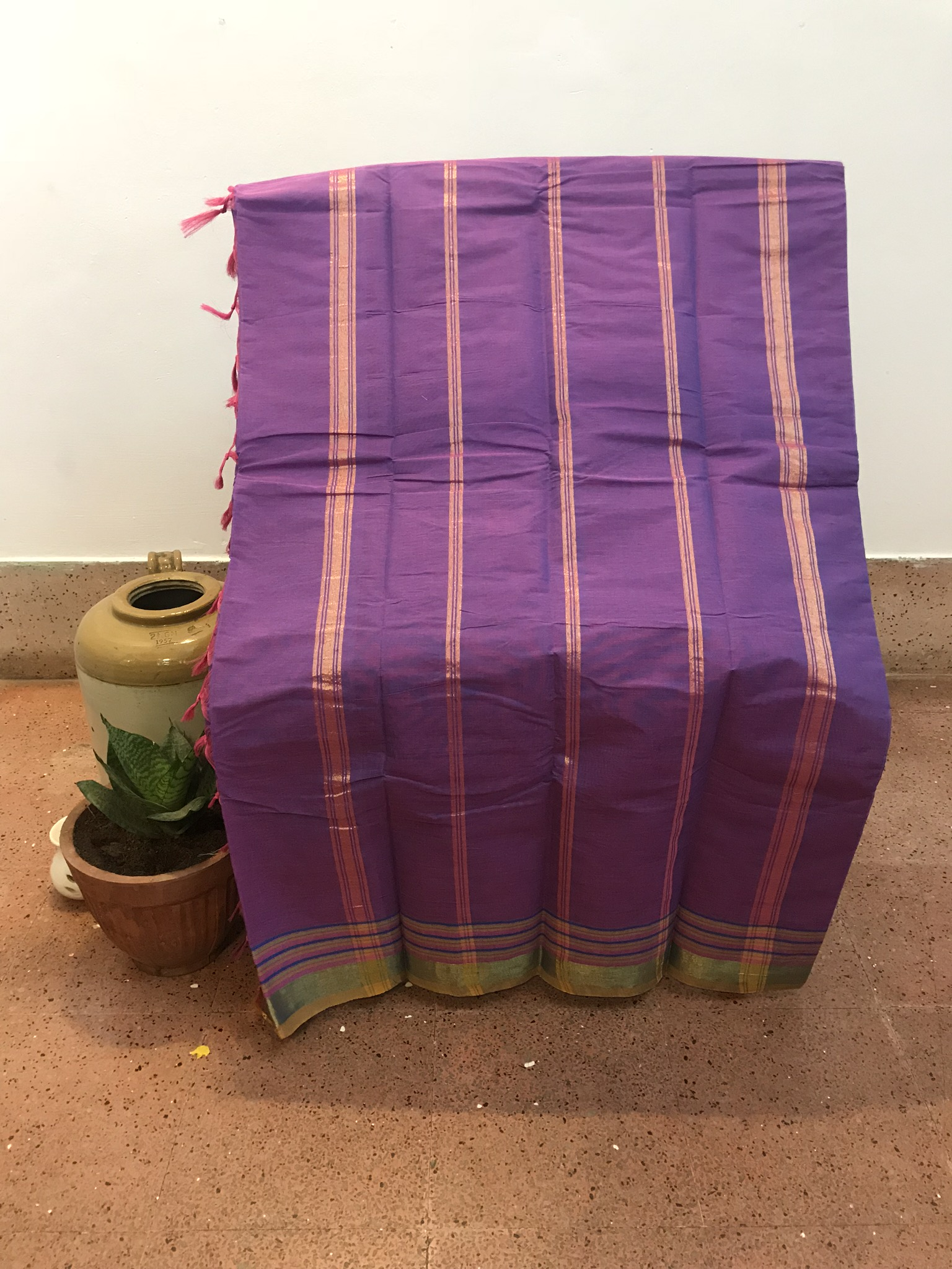 Purple and Green Kanchi Cotton Saree (INDI-1021)