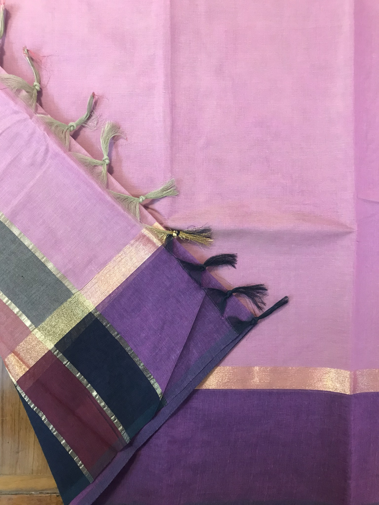 Pink and Purple Kanchi Cotton Saree (INDI-1022)