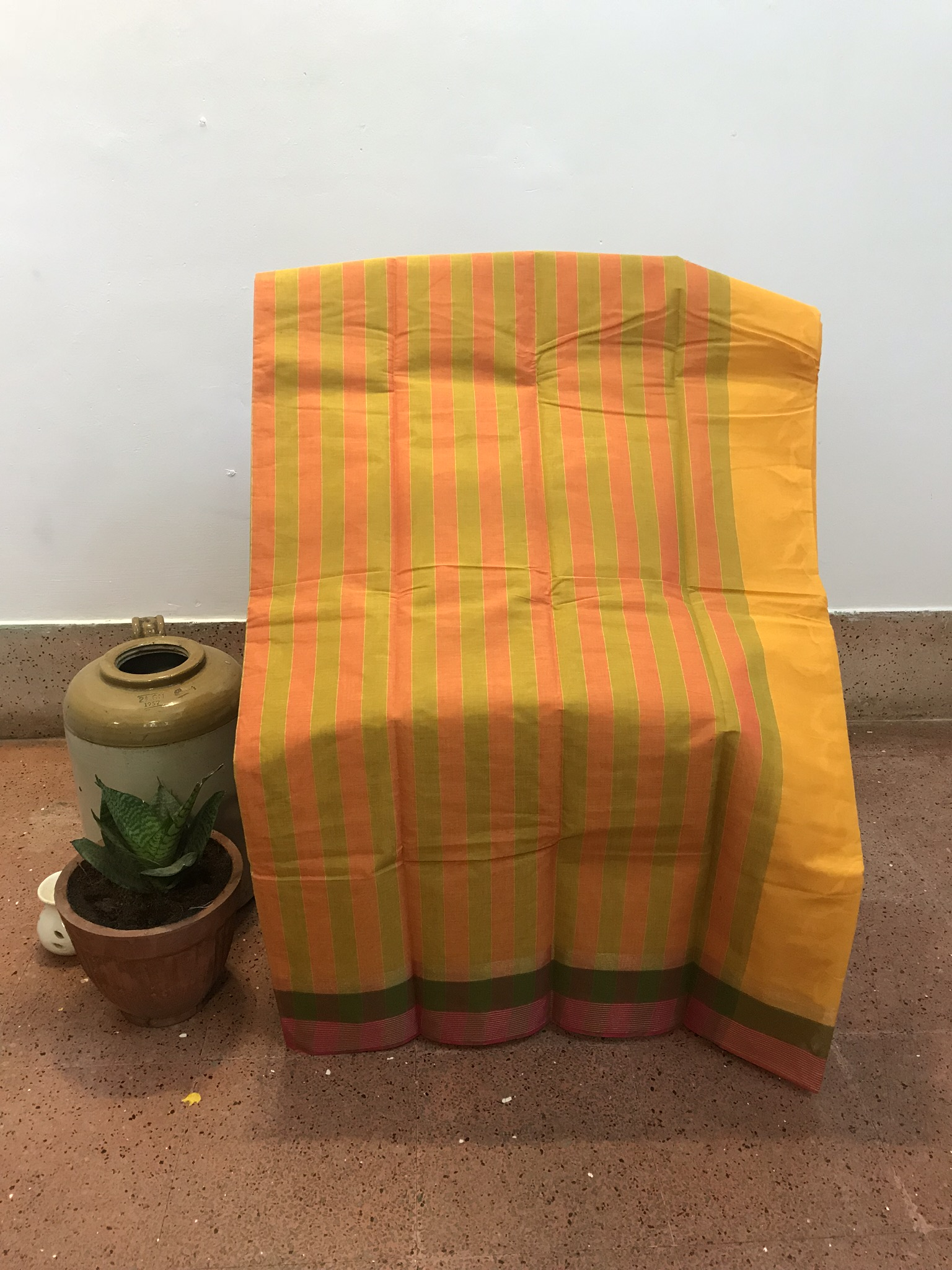 Yellow-Pink-Green Kanchi Cotton Saree (INDI-1023)