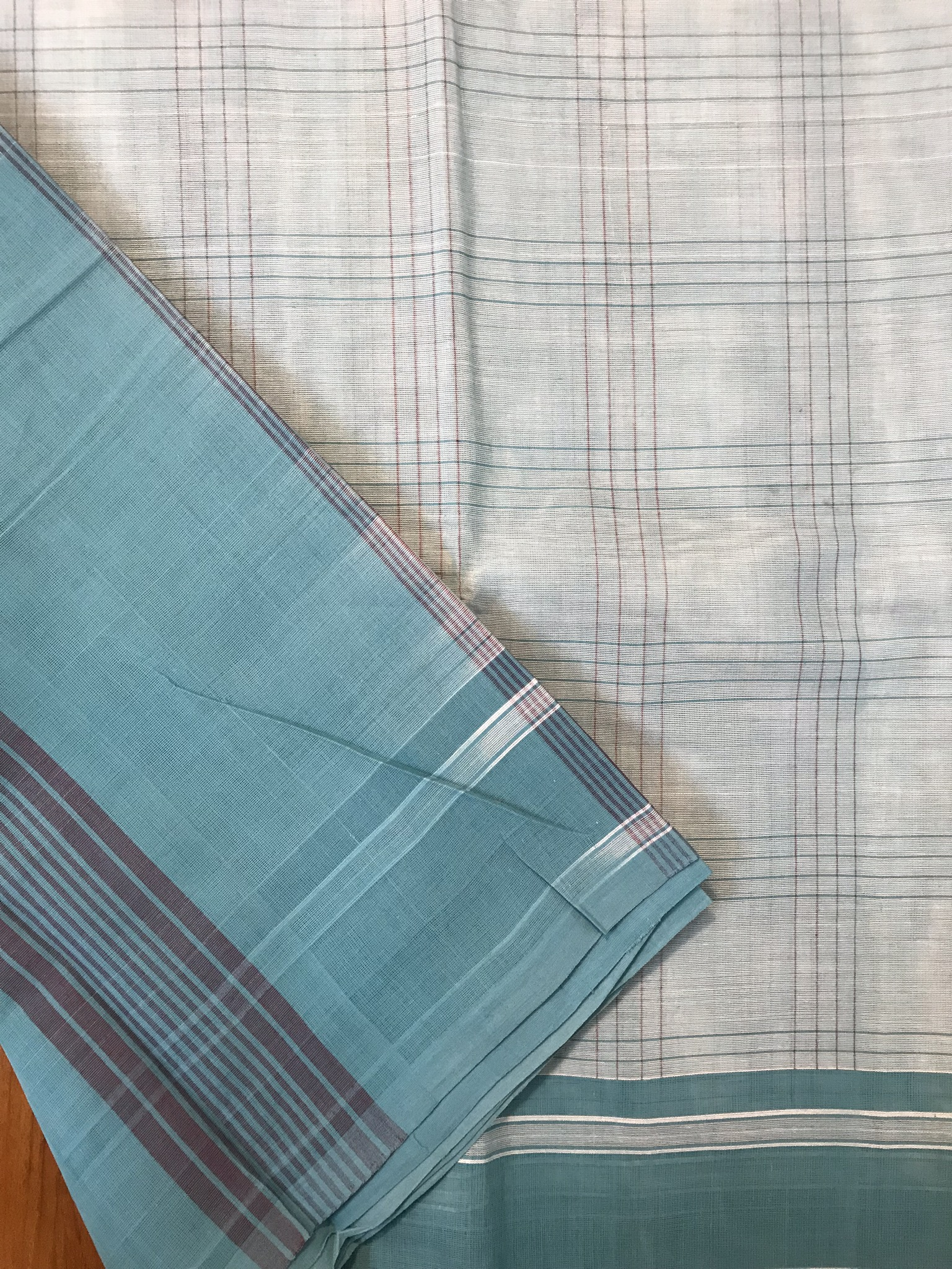 Sky Blue Kanchi Cotton Saree