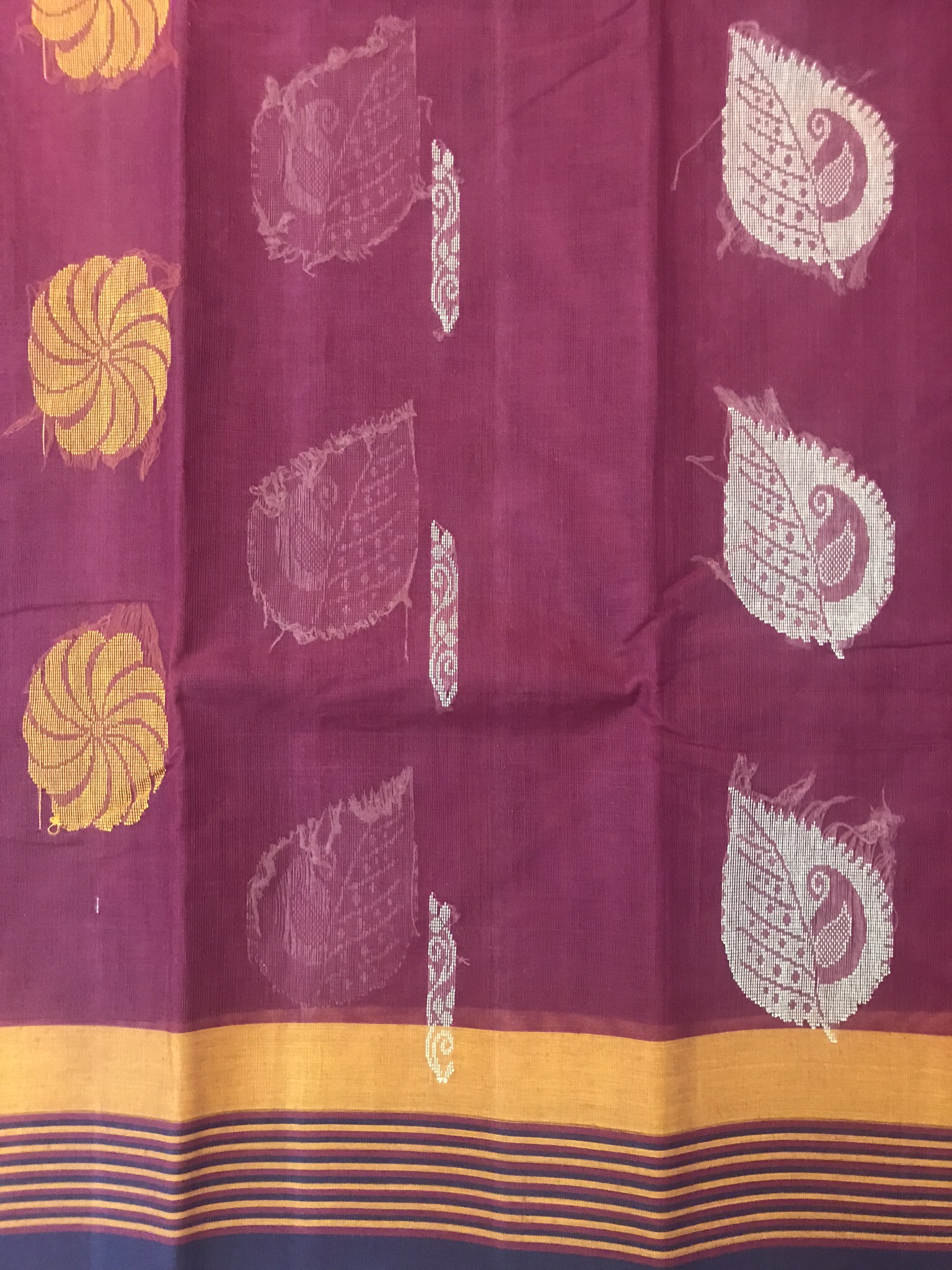 Maroon and Mustard Kanchi Cotton Saree (INDI-1025)