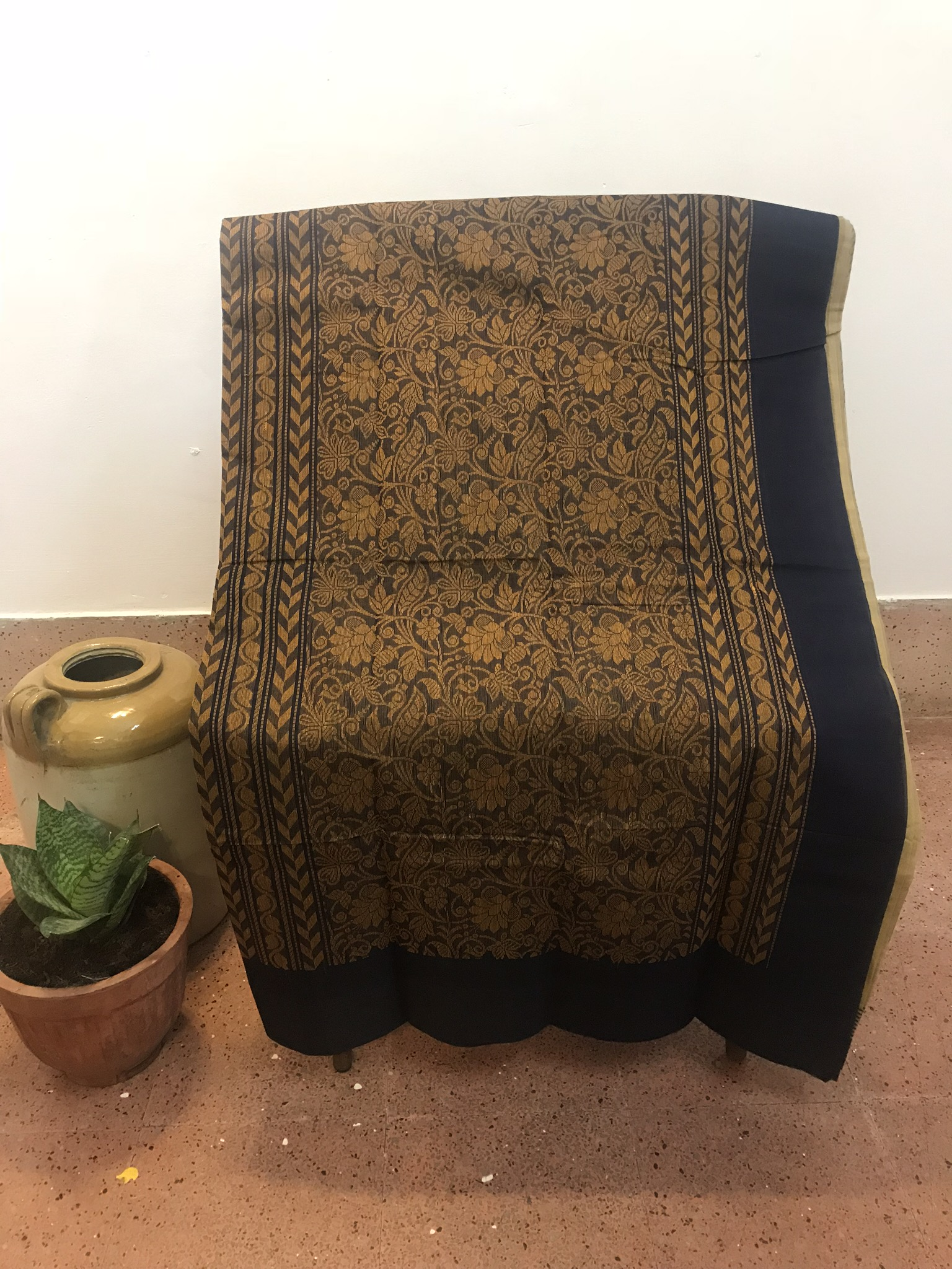 Cream and Navy Blue Kanchi Cotton Saree (INDI-1026)