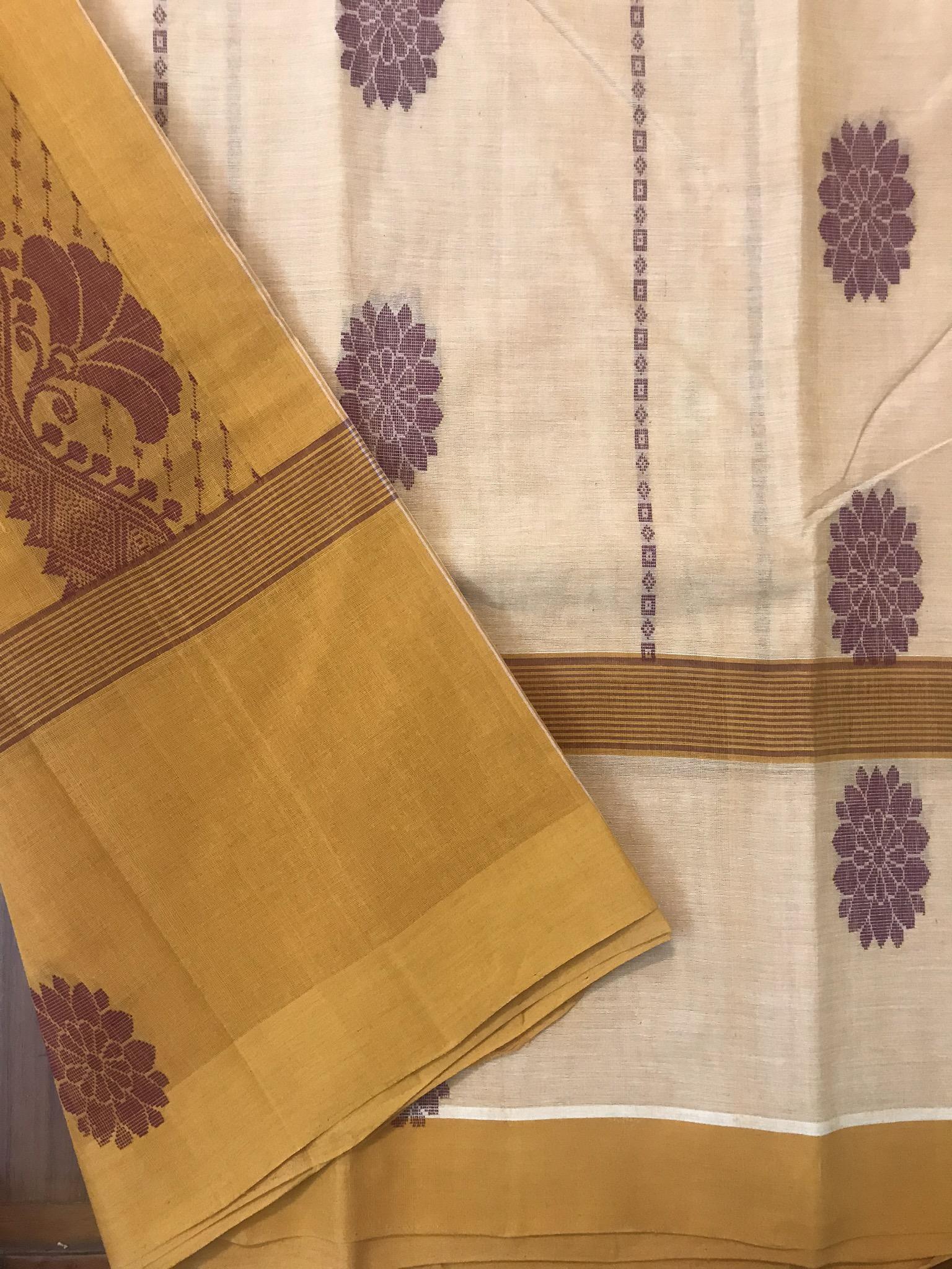 Yellow Cream and Maroon Kanchi Cotton Saree