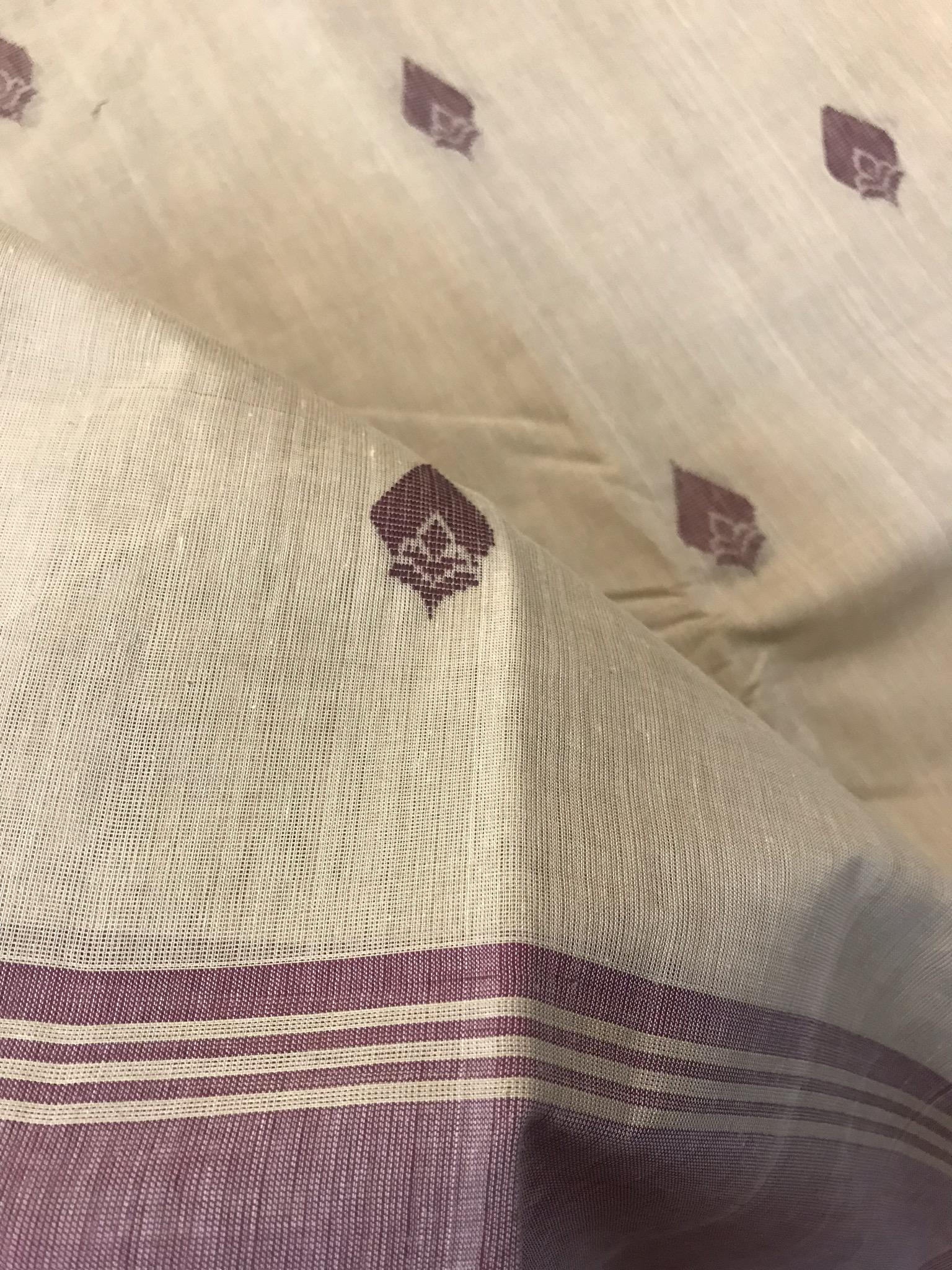 Cream and Maroon Kanchi Cotton Saree (INDI-1028)