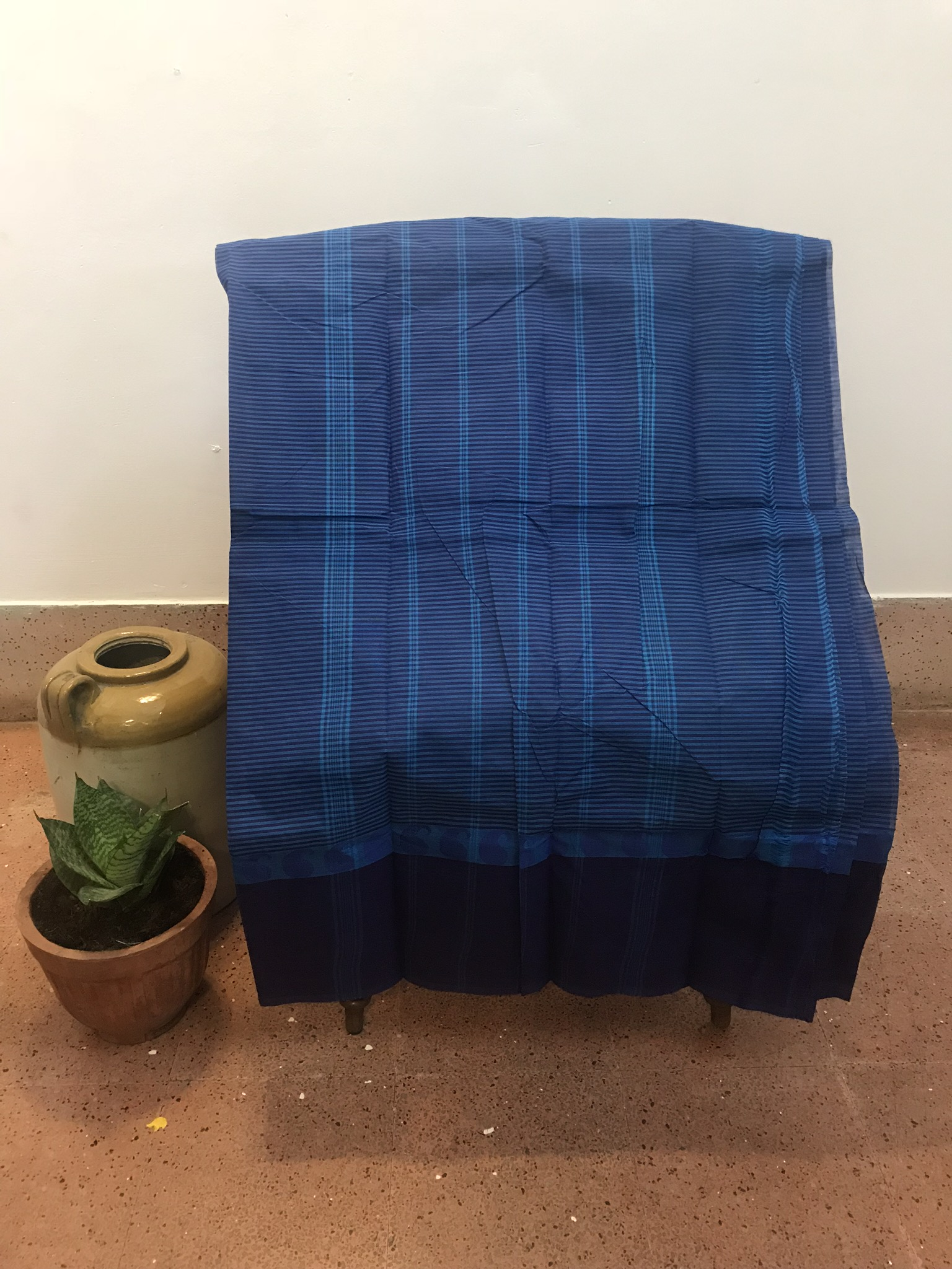 Royal Blue Kanchi Cotton Saree (INDI-1029)