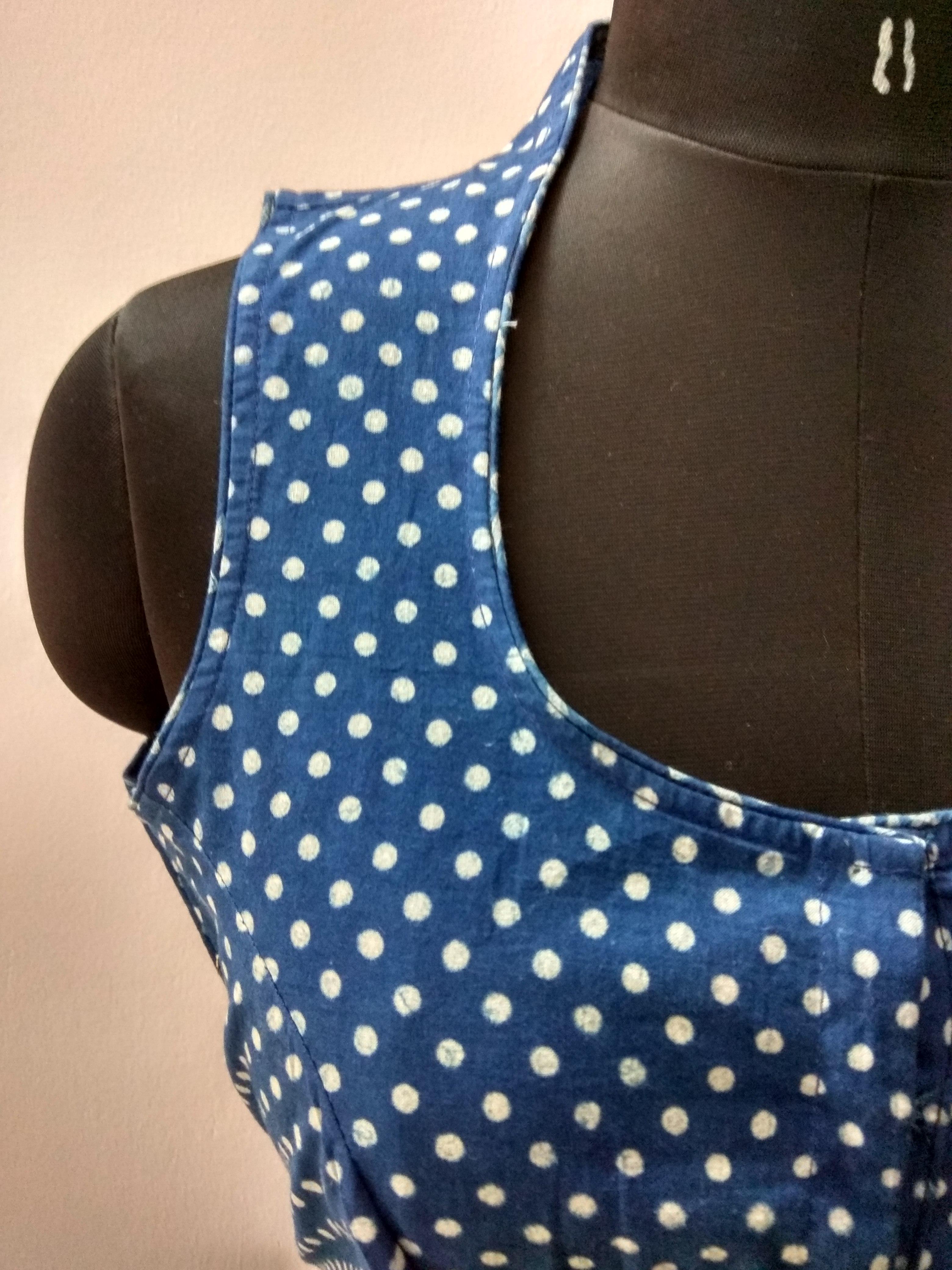 Blue Dabu block-printed cotton blouse (INDI-812)
