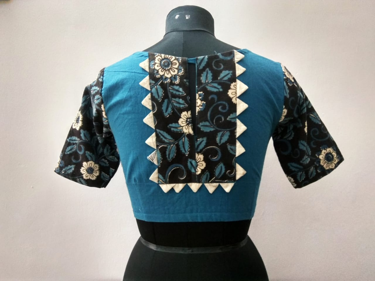 Blue Kalamkari cotton blouse (INDI-813)