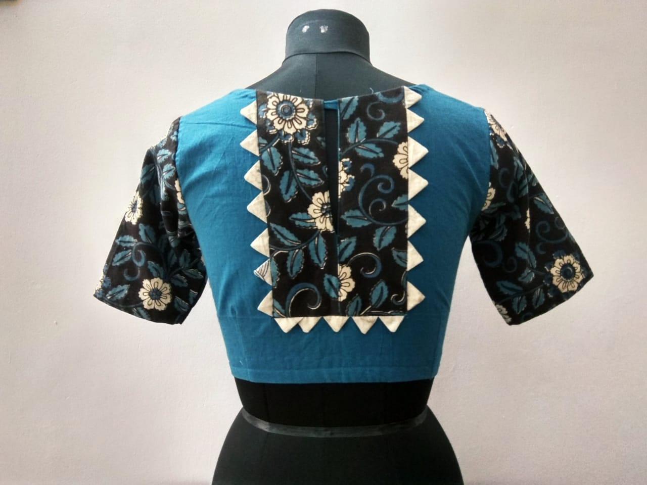 Blue Kalamkari cotton blouse (INDI-813)