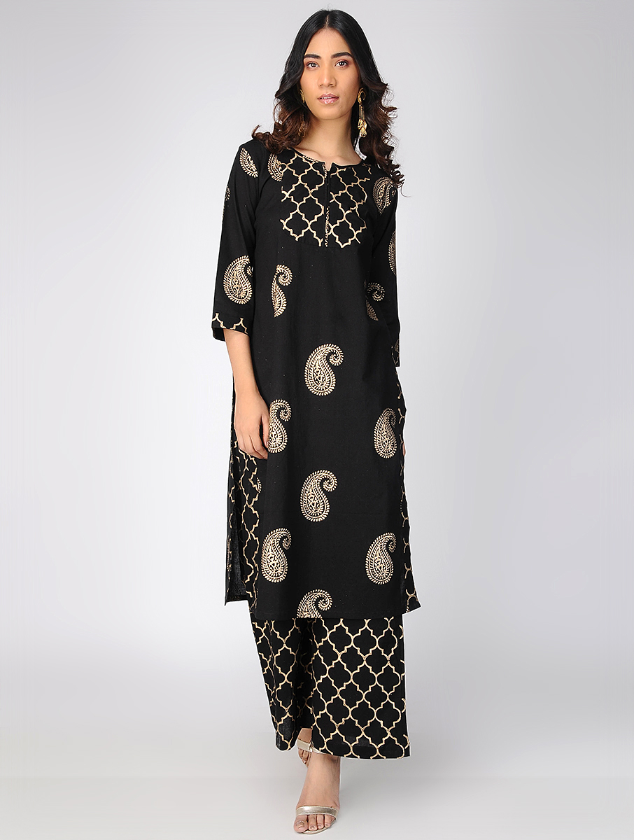Black block-printed kurta (INDI-635)