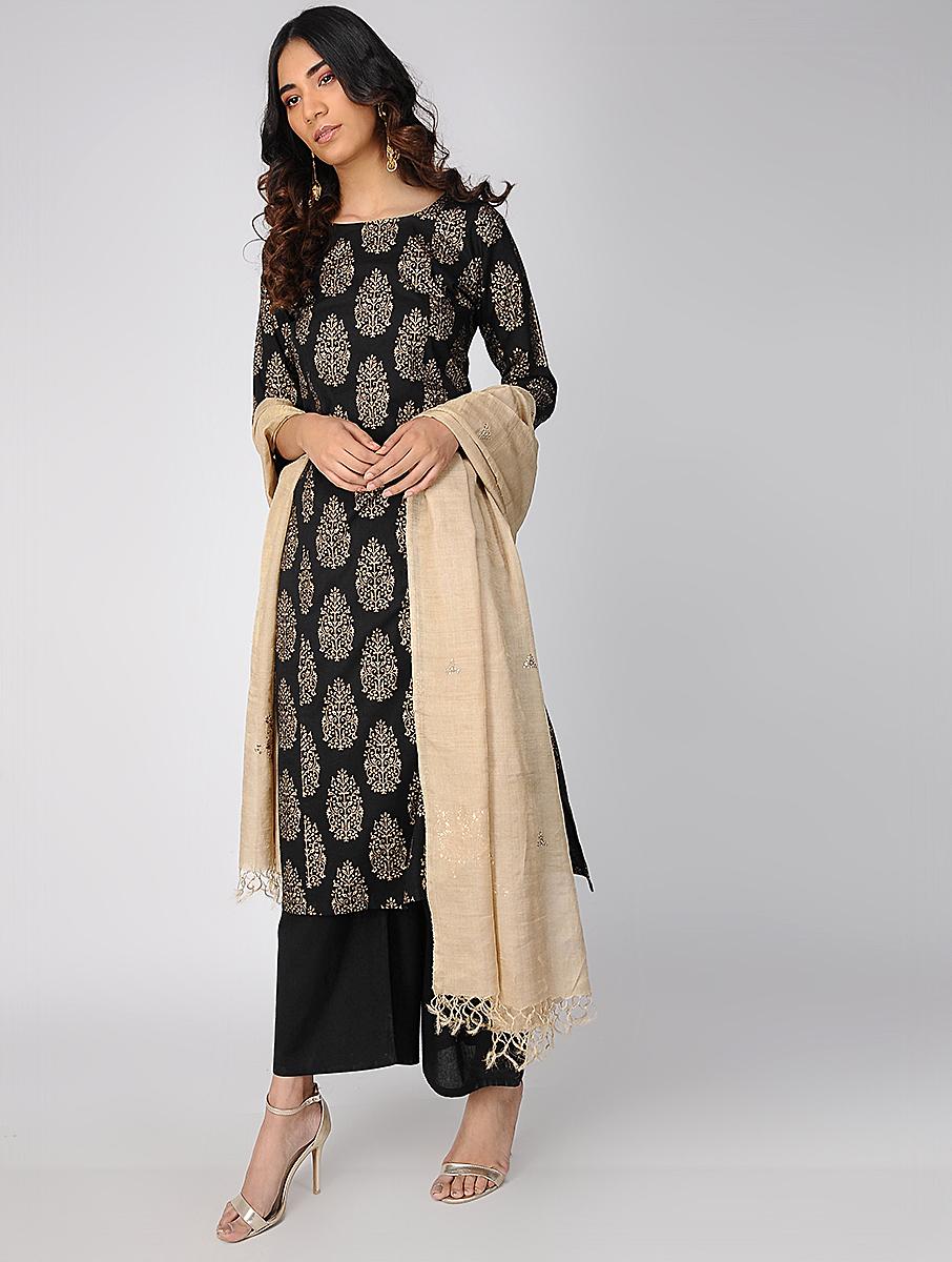 Black block-printed kurta  (INDI-636)