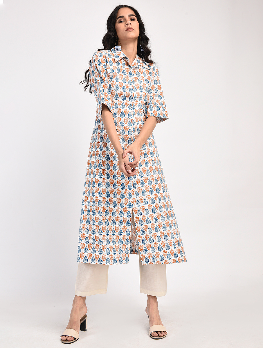 Orange blue screen print cotton kurta (INDI-815)
