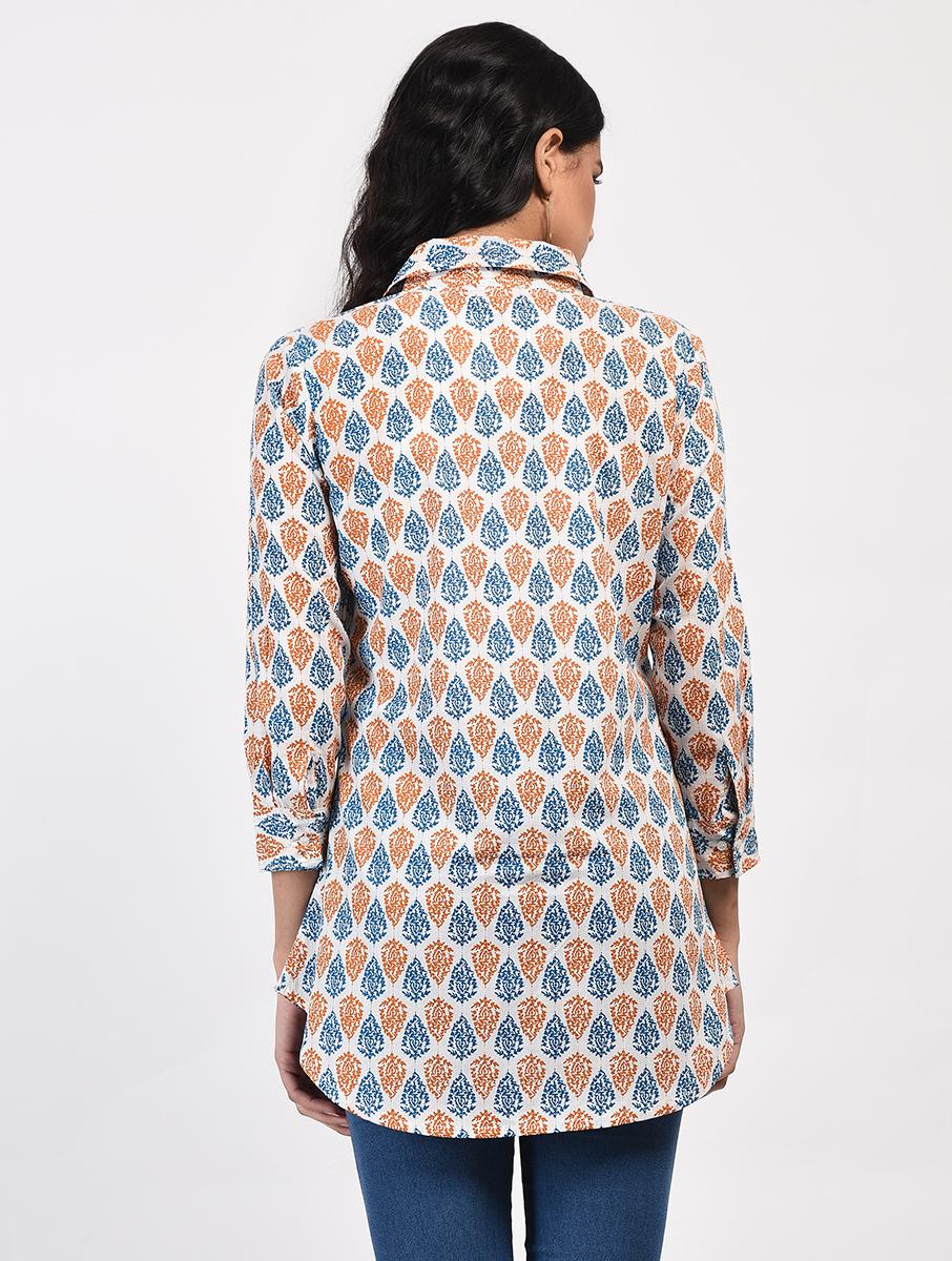 Orange Blue screen-printed tunic (INDI-817)