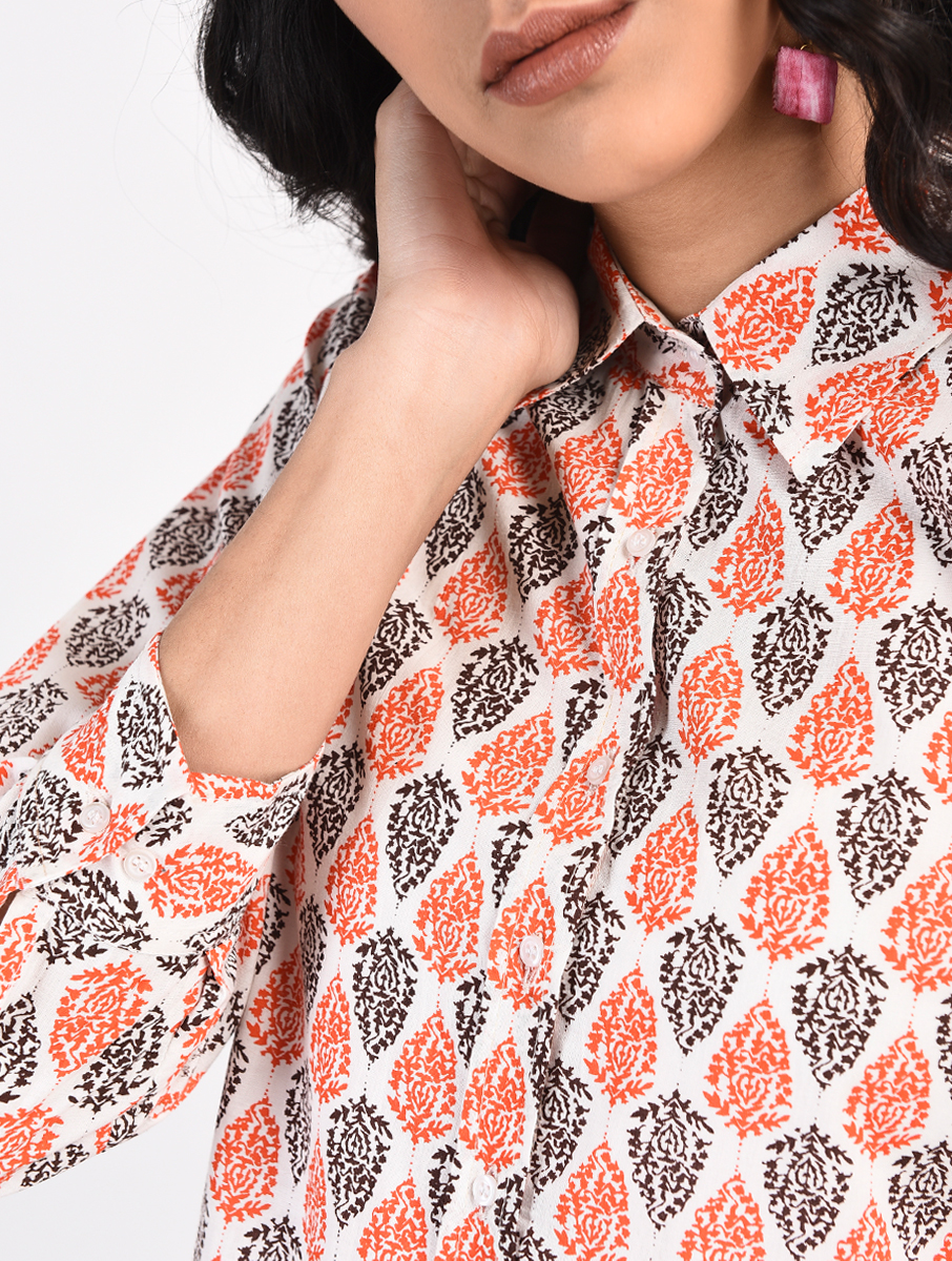 Orange Black screen-printed tunic (INDI-818)