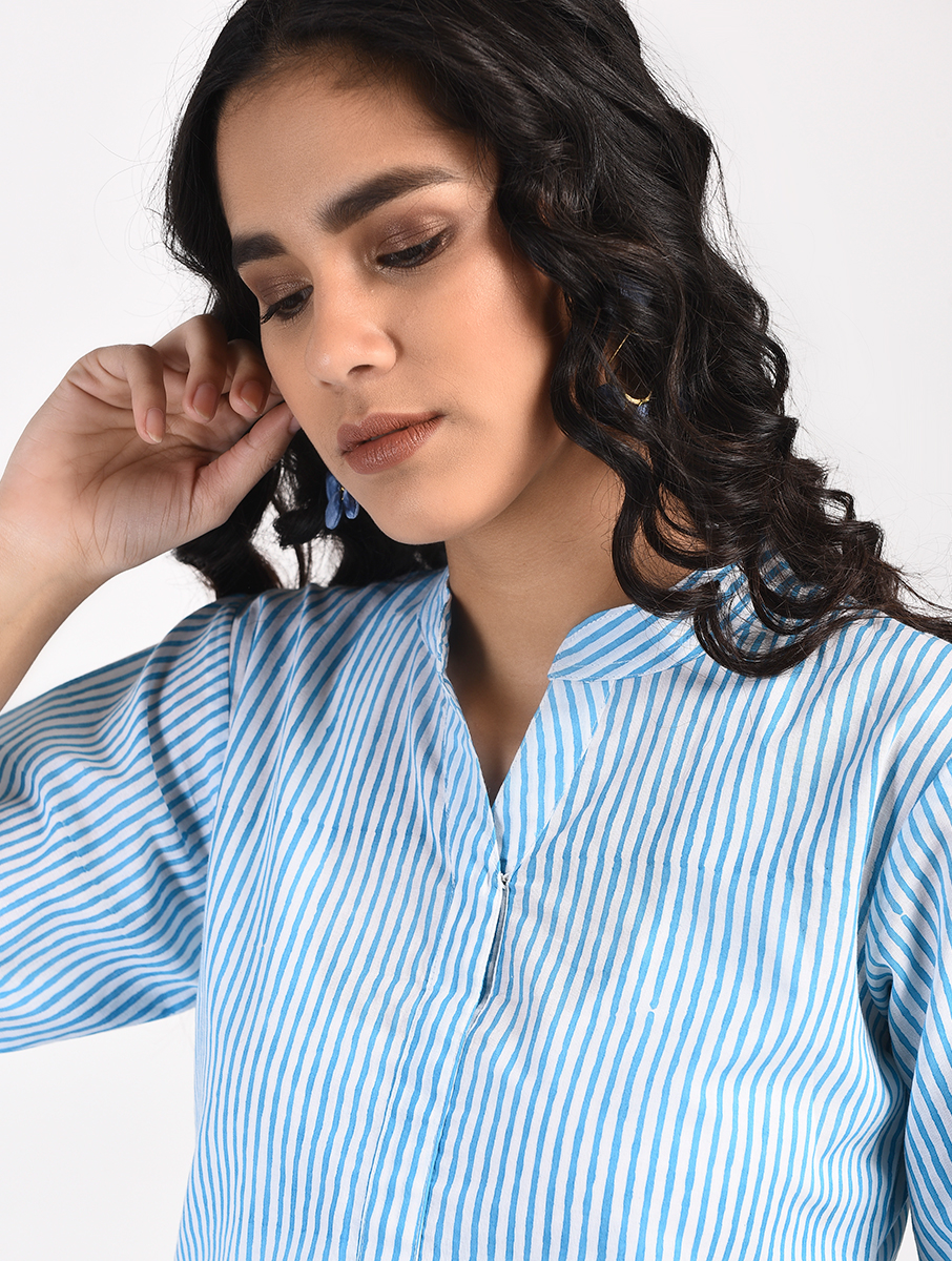 Blue striped tunic top (INDI-839)