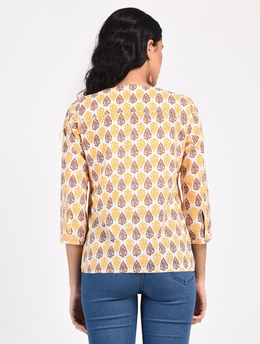 Yellow Brown screen-printed top (INDI-852)
