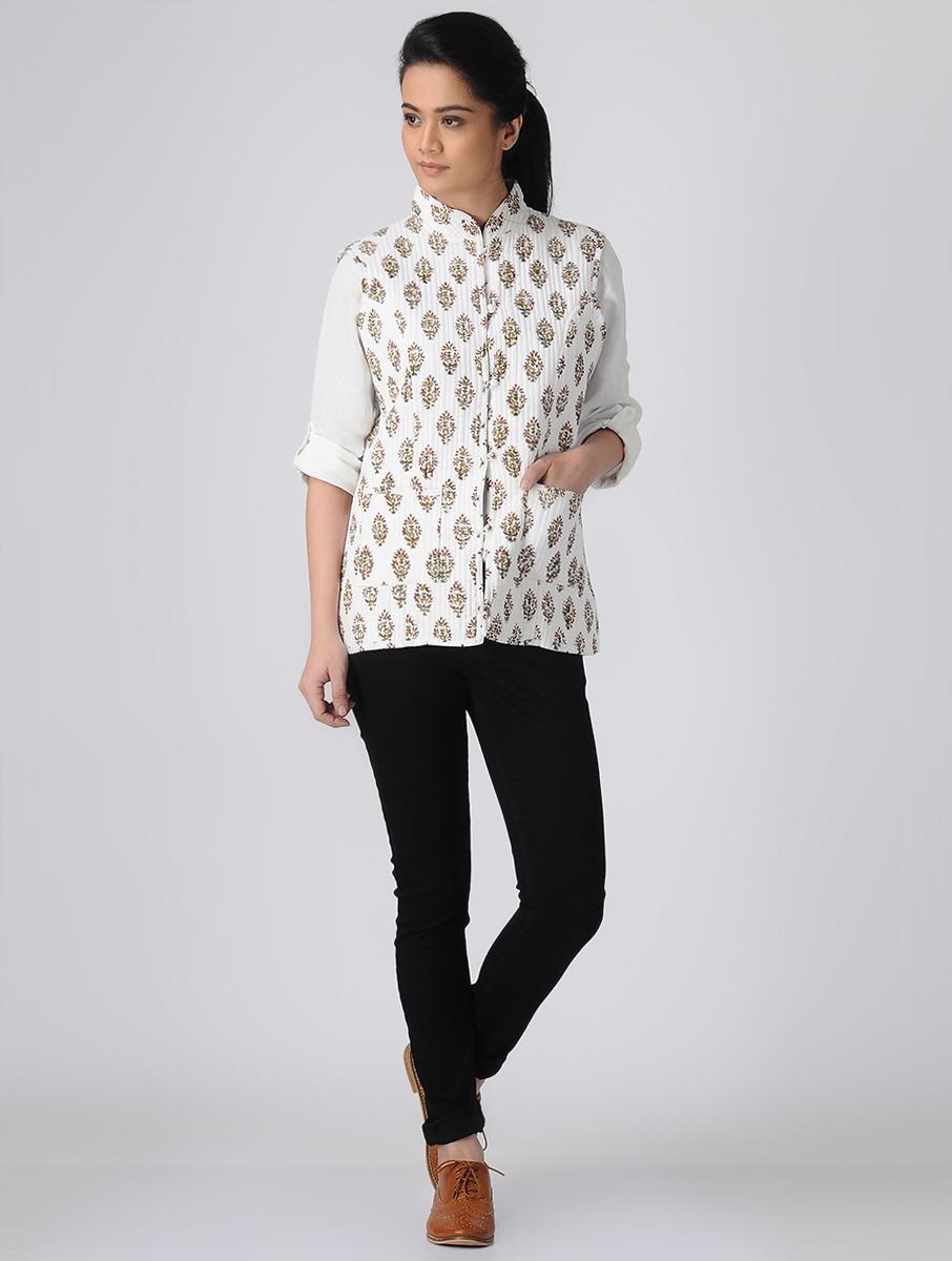 White Hand block printed Reversible Summer Jacket (INDI-516)