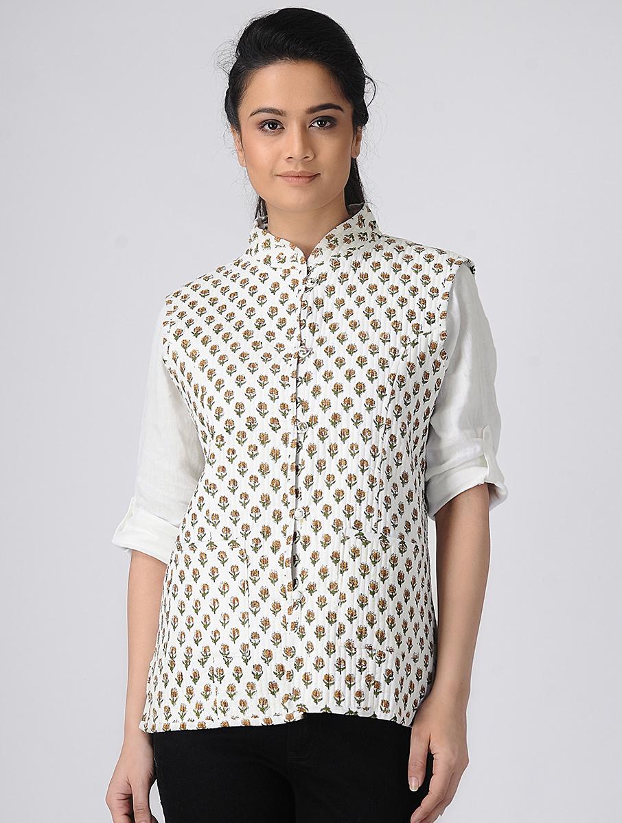 White Hand block-printed Reversible Summer Jacket (INDI-518)