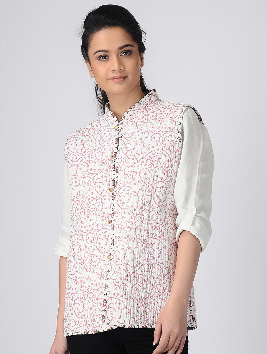 White Hand block-printed Reversible Summer Jacket (INDI-521)