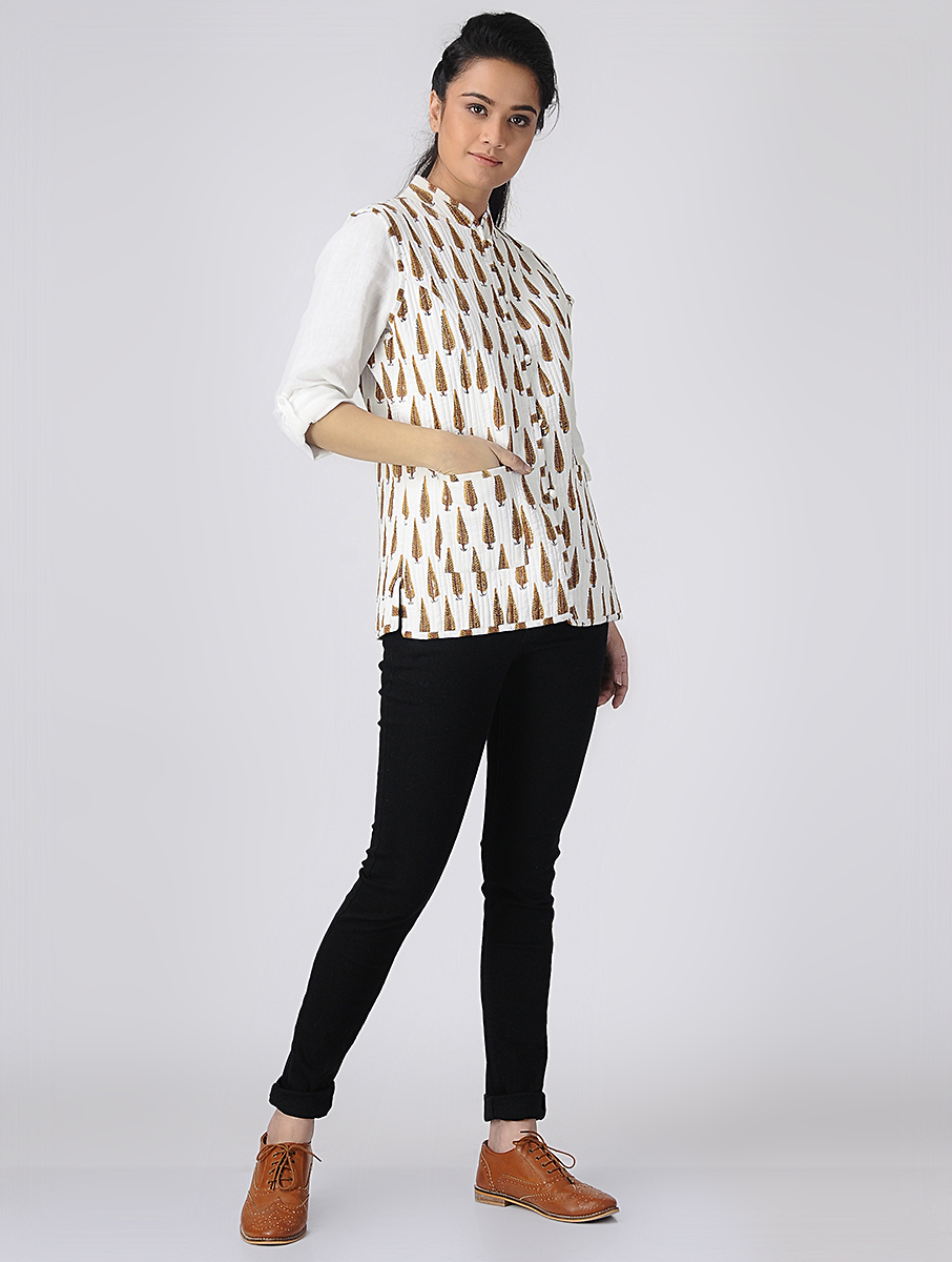 White Hand block-printed Reversible Summer Jacket (INDI-523)