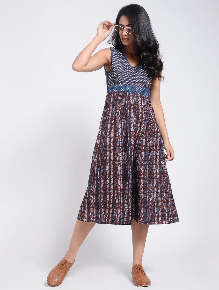 Indigo Dabu Bagru block-printed A-line dress (INDI-904)