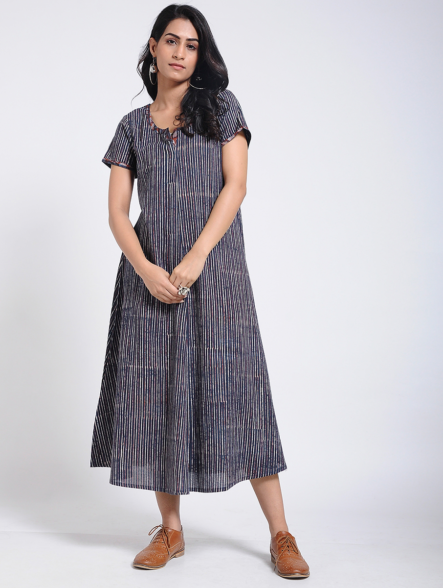 Indigo Dabu Bagru block-printed A-line dress (INDI-905)