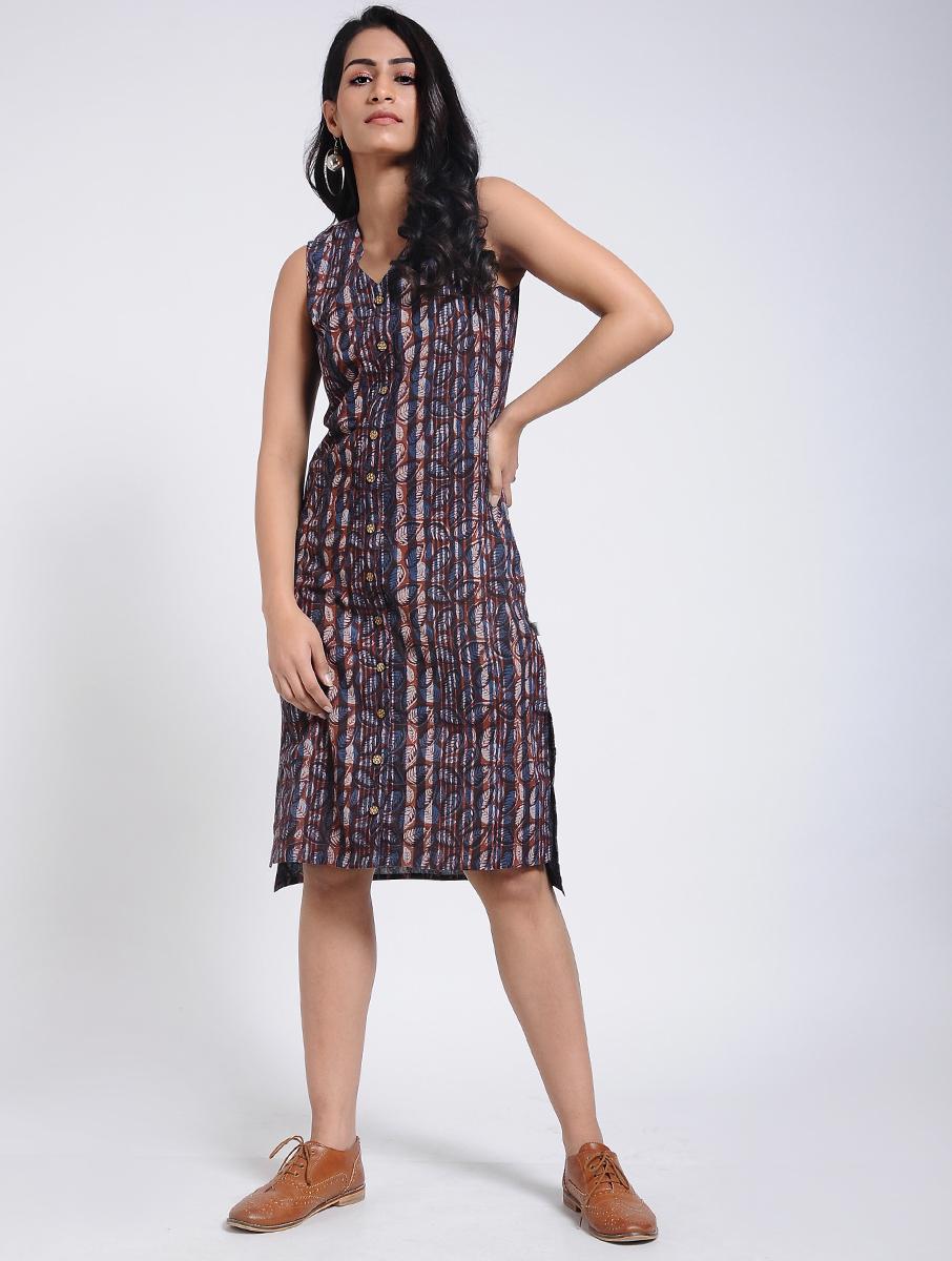 Indigo Dabu Bagru block-printed cotton dress (INDI-906)