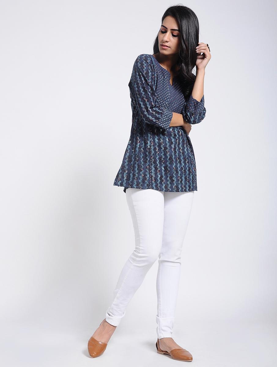 Indigo Dabu Bagru block-printed cotton tunic (INDI-907)