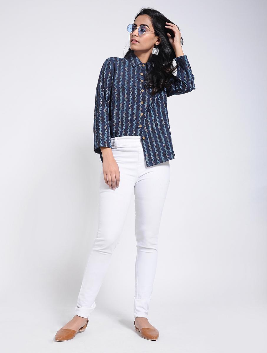 Indigo Dabu Bagru block-printed cotton shirt (INDI-908)