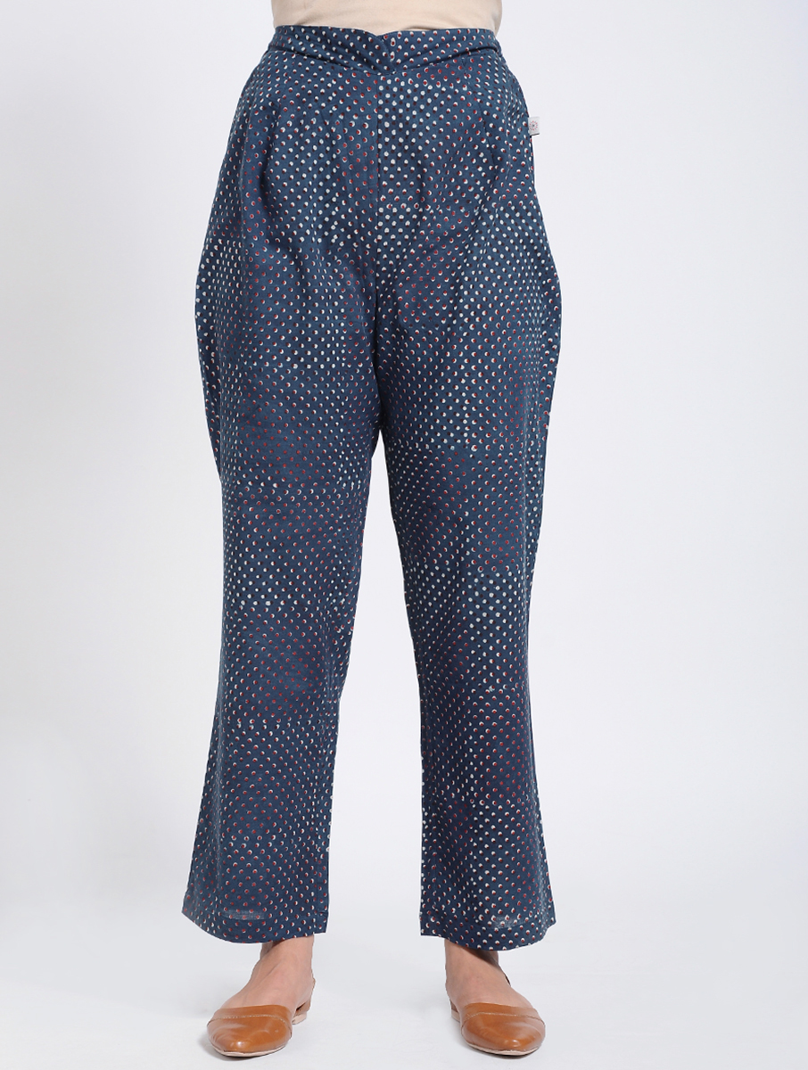 Indigo Dabu Bagru block-printed cotton pants (INDI-912)