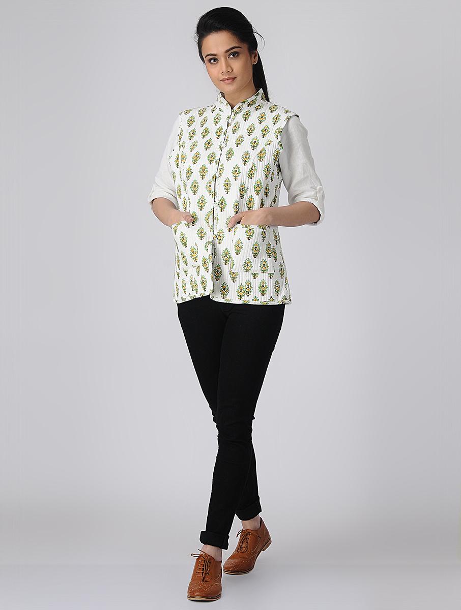 White Hand Block-printed Reversible Summer Jacket (INDI-519)