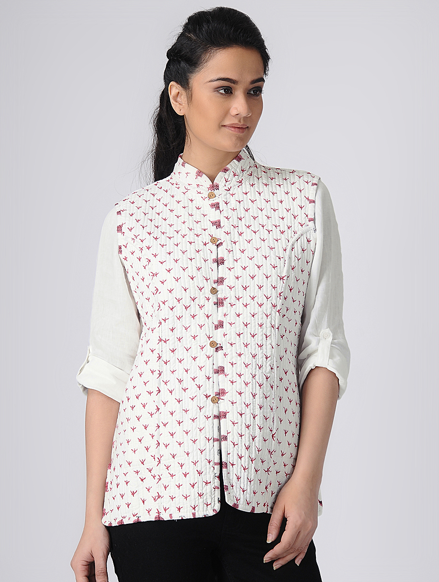 White Hand block-printed Reversible Summer Jacket (INDI-522)