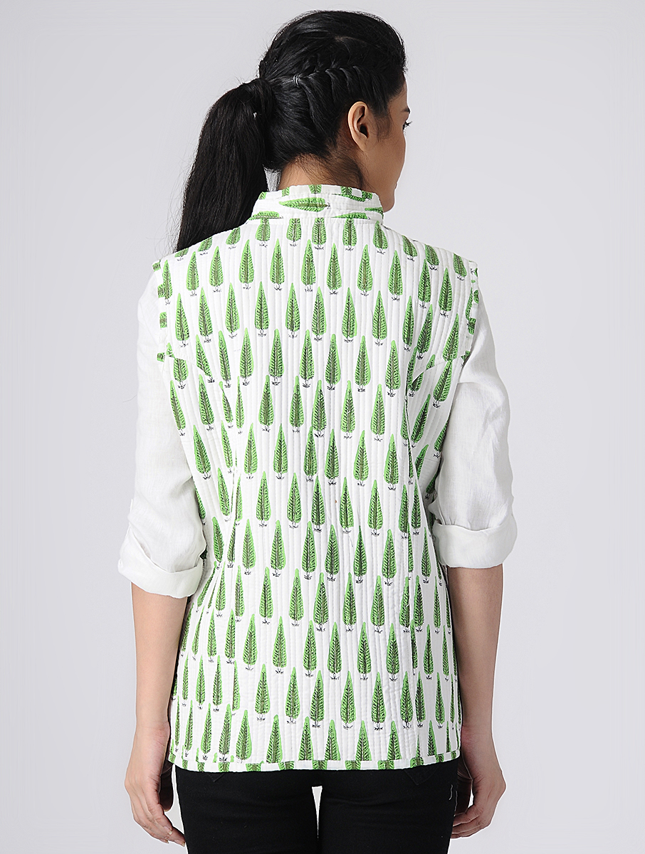 White Hand block-printed Reversible Summer Jacket (INDI-524)