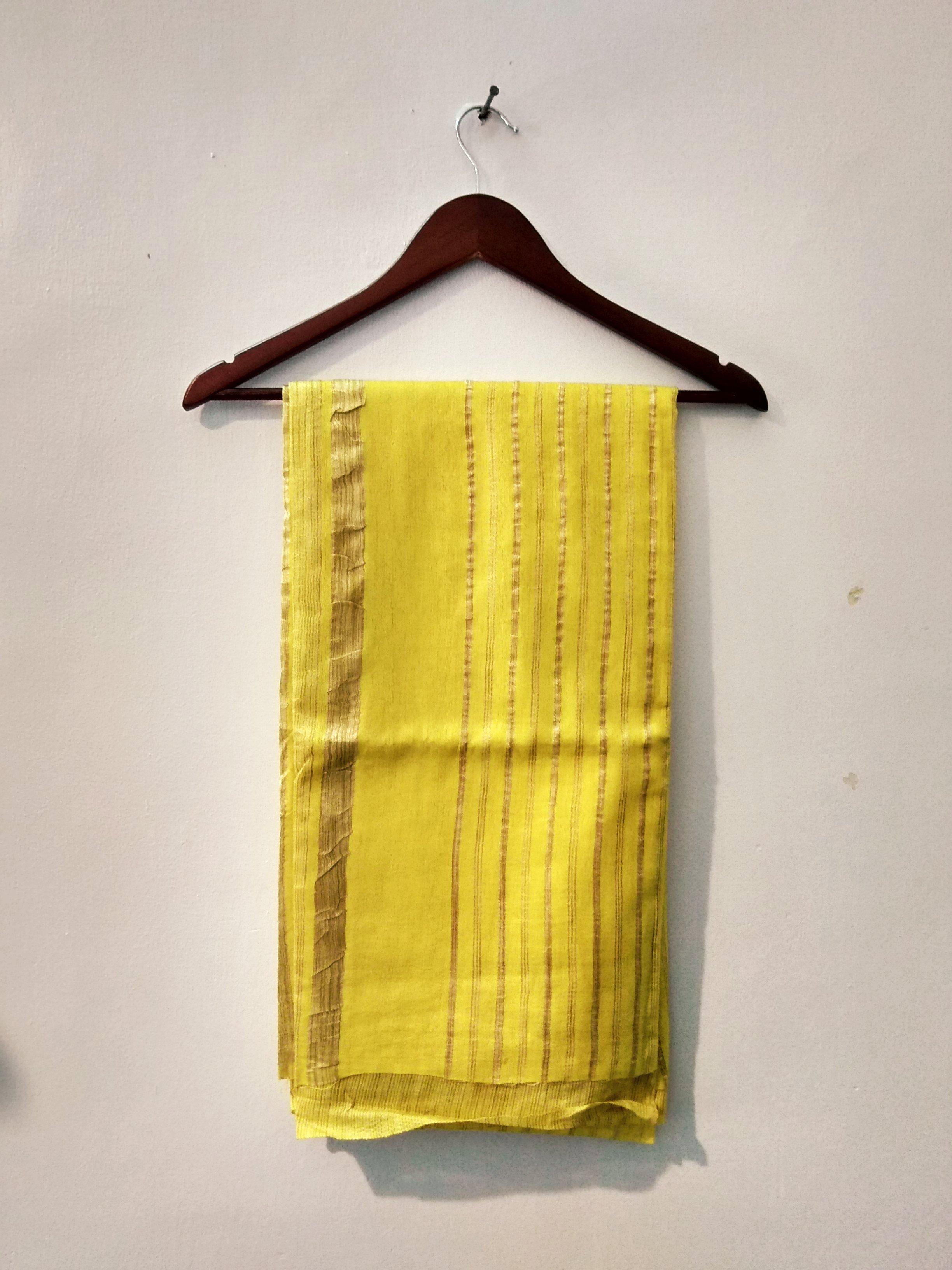Yellow Handloom Bhagalpuri cotton saree (INDI--1039)