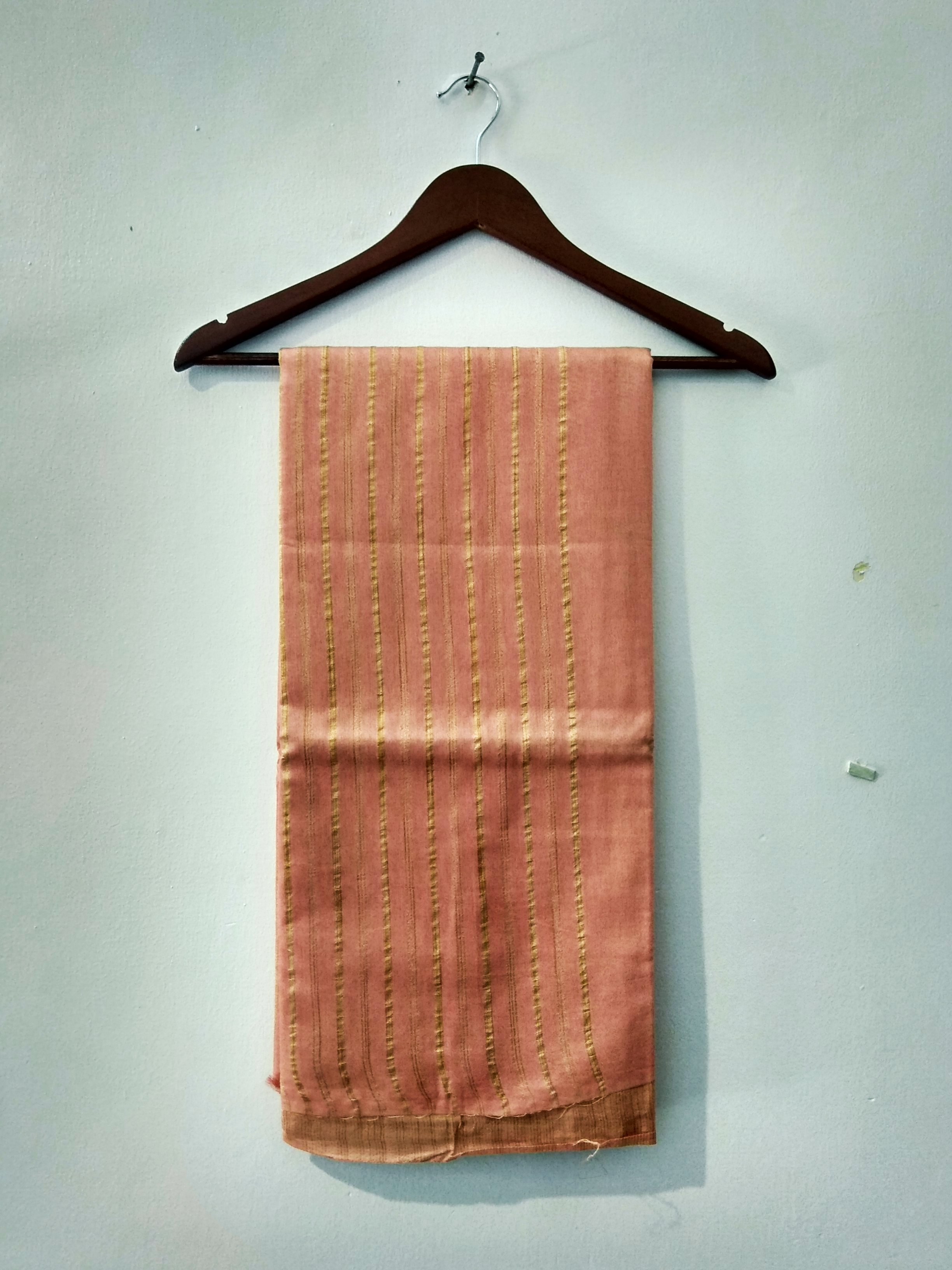 Coral Pink Handloom Bhagalpuri cotton silk saree (INDI-1041)