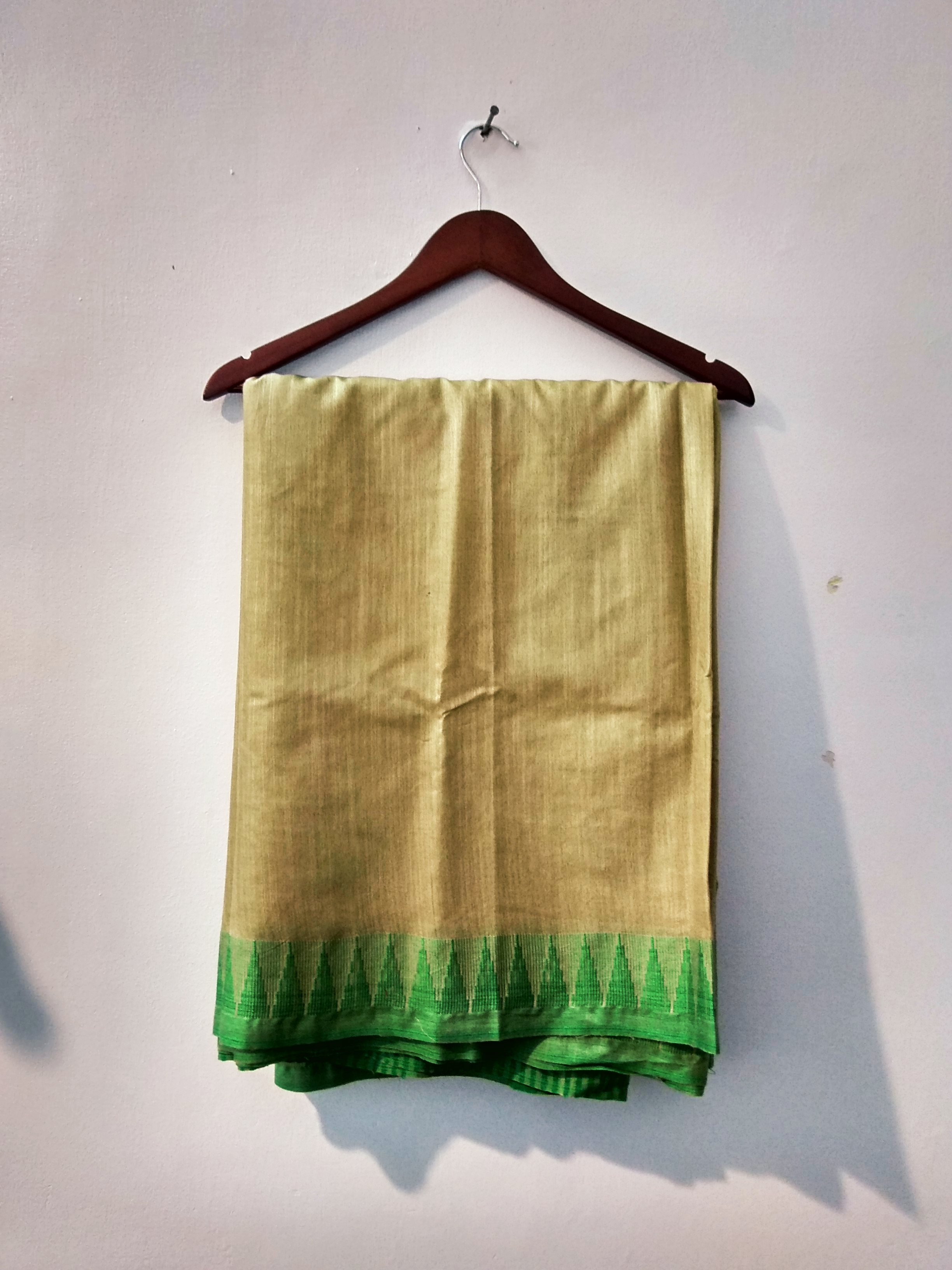 Beige and Green Bhagalpuri cotton silk saree (INDI-1042)