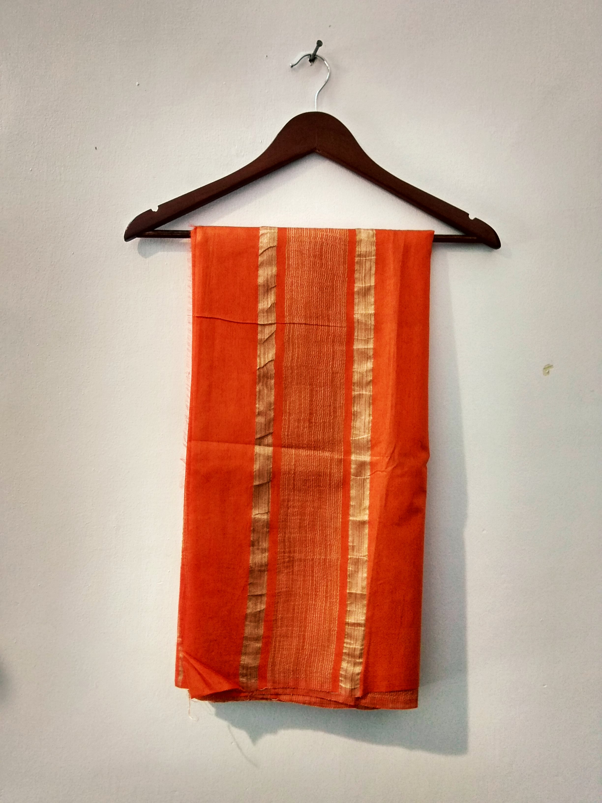 Orange Handloom Bhagalpuri cotton silk saree (INDI-1043)