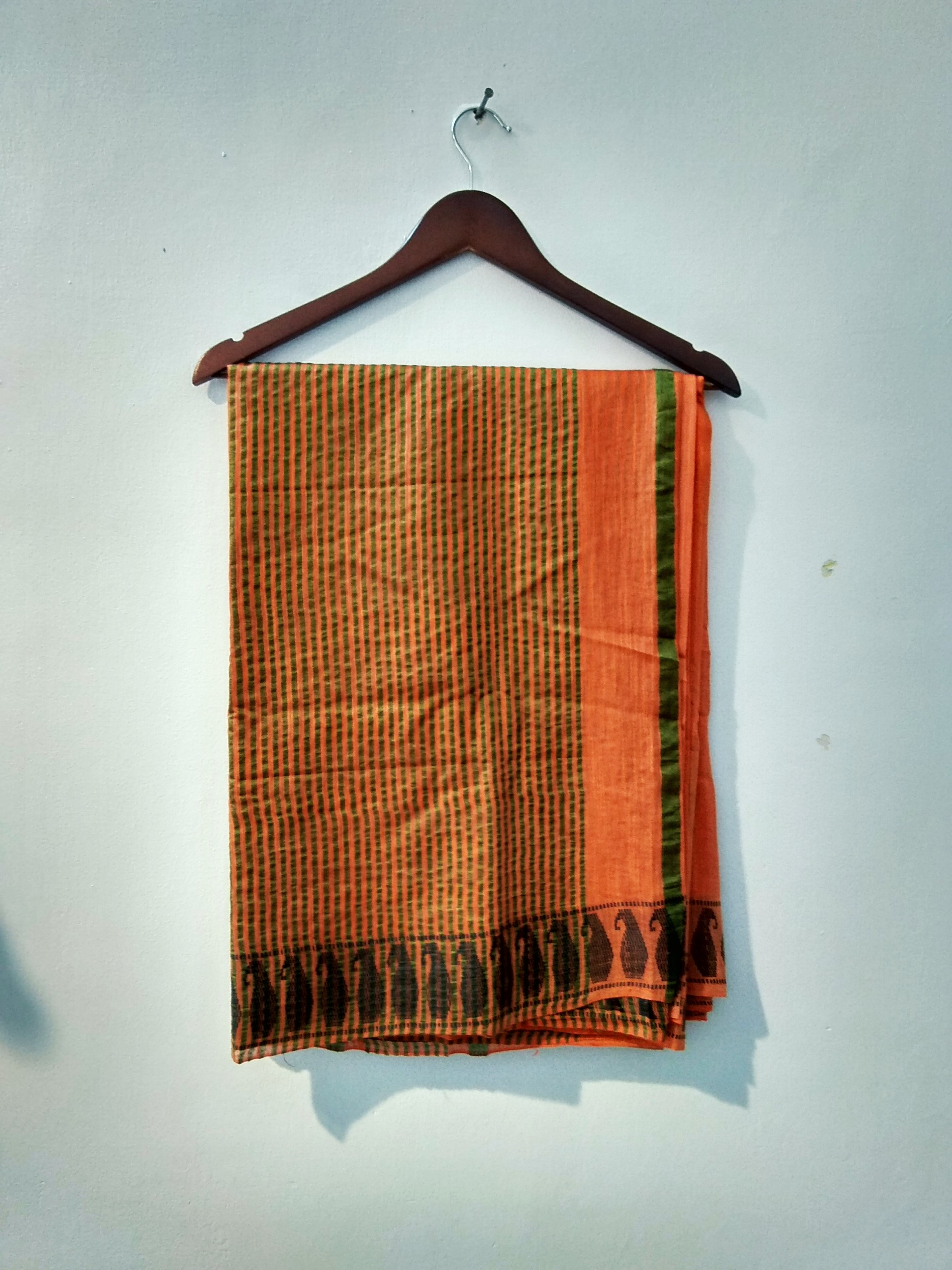 Orange Handloom Bhgalpuri cotton silk saree (INDI-1044)
