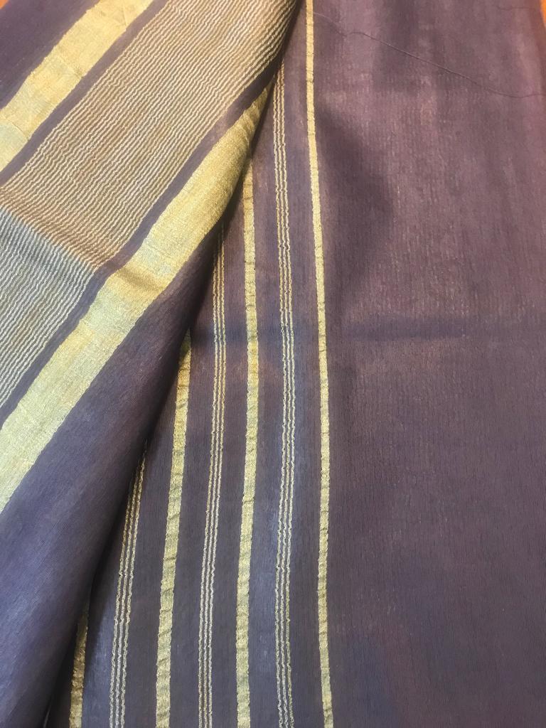 Ink Blue Handloom Bhagalpuri cotton silk saree (INDI-1049)